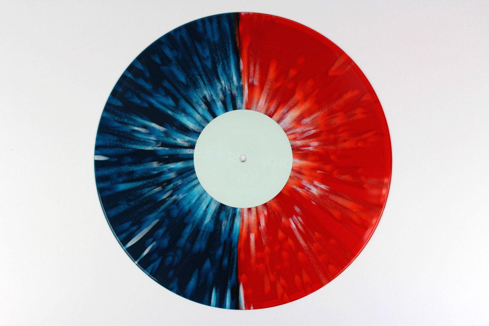 blue 50% + green 50% / red opaque / Splatter white